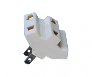 PH7-6059 2P AC FLAT PLUG TO  3×AC JACK