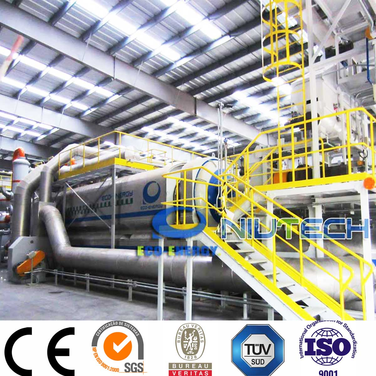 High Oil Output Continuous Waste Tire to Fuel Oil Pyrolysis Plant