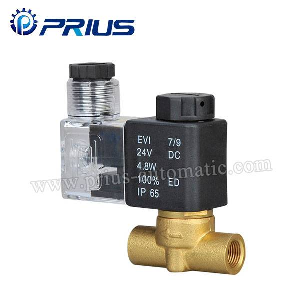 XTF Small Copper Two Way Solenoid Valve , DC12V / DC24V Straight Brass Solenoid Valve Featured Image