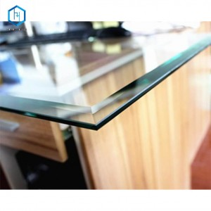 Flat clear toughened polished edges beveled glass ornament