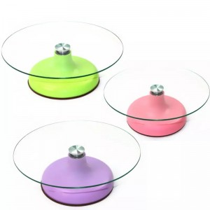 Glass cake turntable revolving for cake decoration