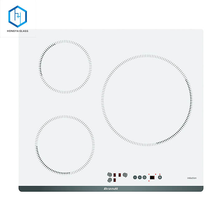 white cooktop glass plate