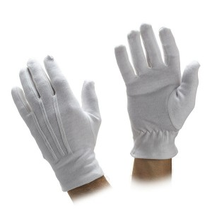 White Cotton Gloves with Ornamental Stitching Item No.: HMD-10