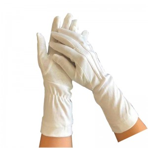 White Parade Band Uniform Formal Ceremony cotton gloves with dots on palm Item No.: HMD-30WL