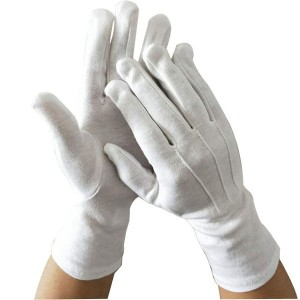 White Parade Band Uniform Formal Ceremony Inspection Cotton Glove Item No.: HMD-2020WL