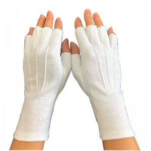 Fingerless Half Finger White Gloves with long wrist Item No.: HMD-2020WLF