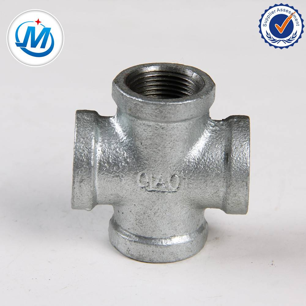 black malleable iron pipe fitting banded equal screw joint cross