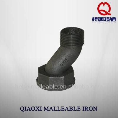 black malleable cast iron pipe fitting meter swivel offset gas fitting