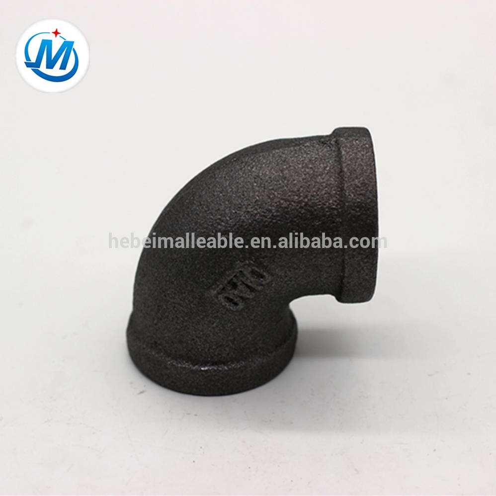 NPT female screwed black malleable iron pipe fitting cast test elbow