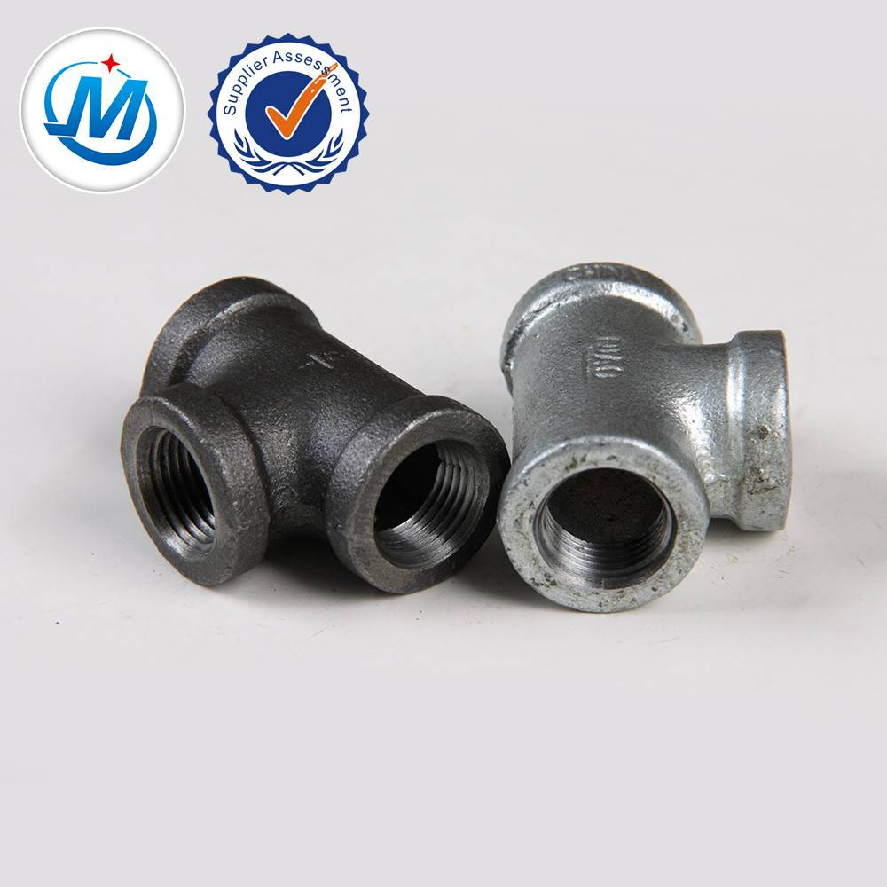 malleable iron pipe fitting bs npt cast banded tee