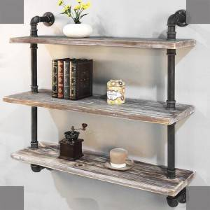 Rustic Pipe Shelving Unit, Irin ohun ọṣọ Accent Wall Book selifu fun Home tabi Office Ọganaisa Aworan Show