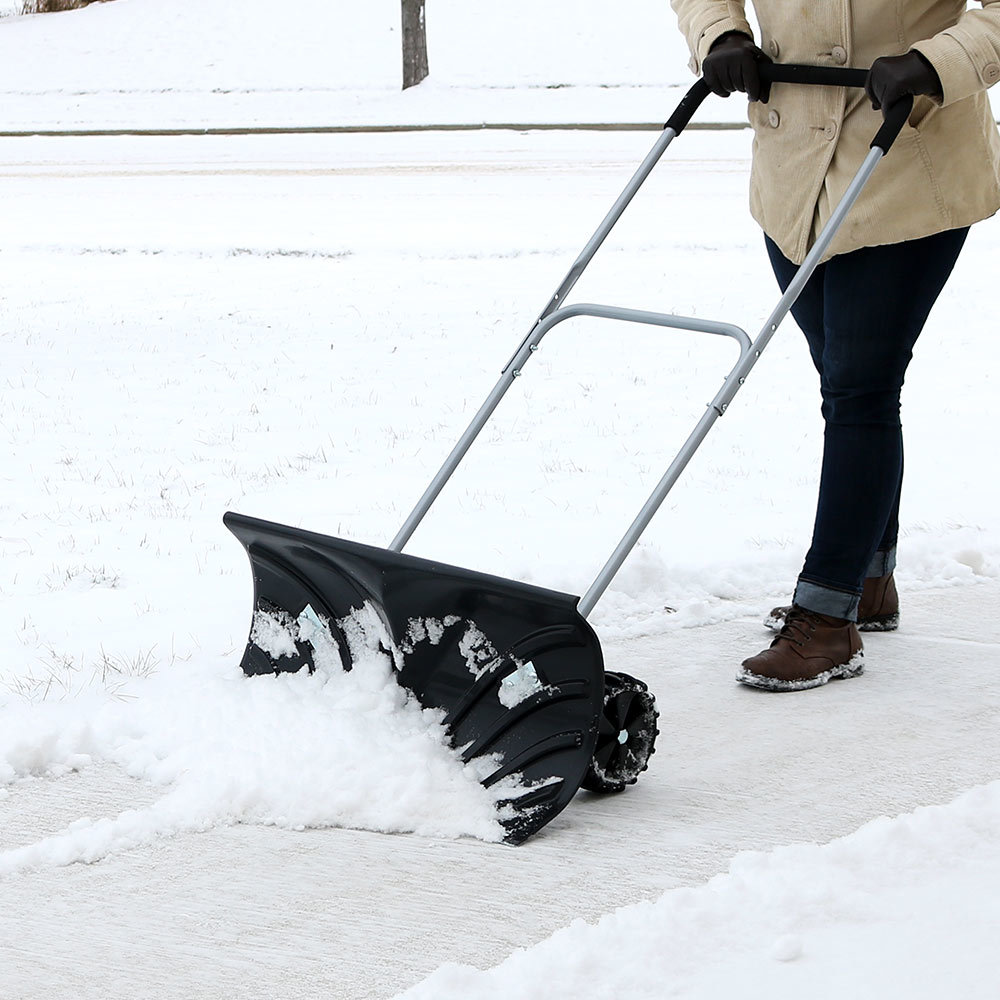 Heavy Duty Rolling Snow Pusher nge Singatha Adjustable