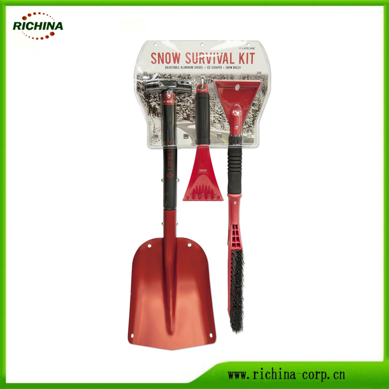 3-in-1 Snow Shovel Kit ar ledus skrāpi