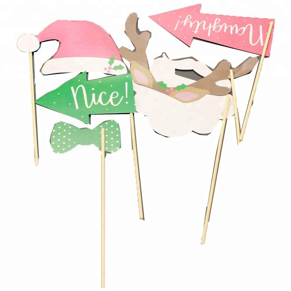 Paper Christmas Conversation Bubble Party Photo Picture Booth Prop Sticks – 6 pieces