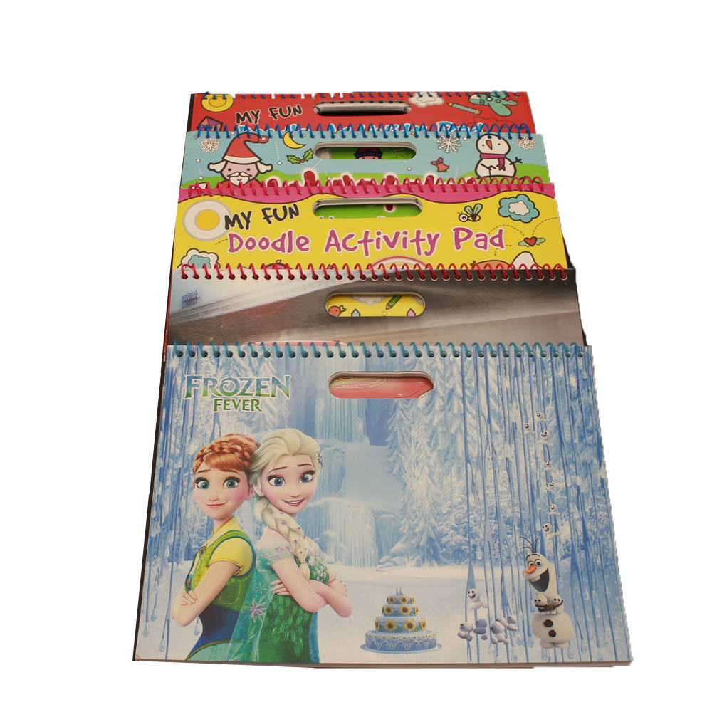 NB-R086 funny activity pad ,sprial drawing book with hot stamp printing and glitters