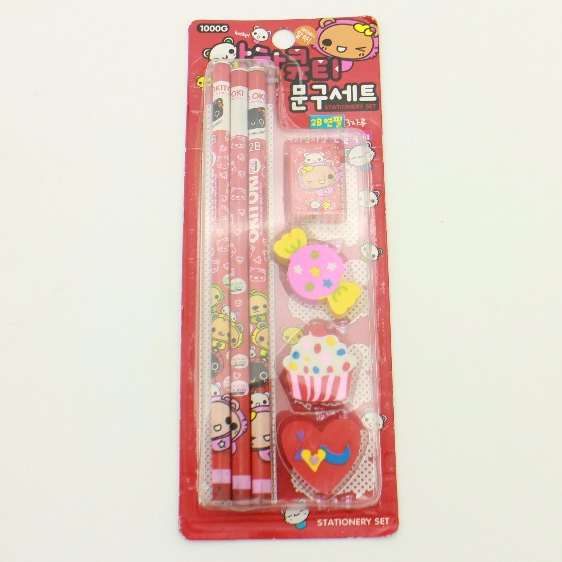 7pcsschool stationery set for students / Pencil sharpener & candy,heart,icecream eraser