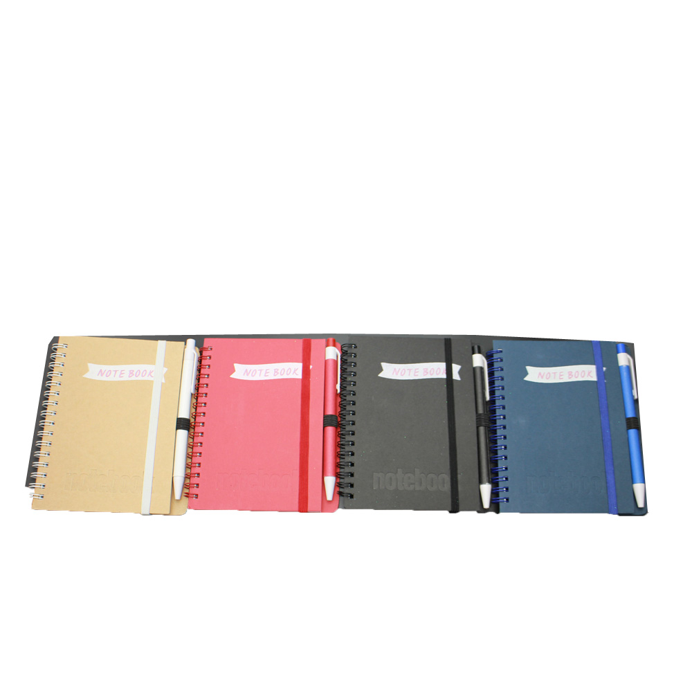 NB-R037 Kraft paper cover cheap school exercise notebook with ball pen