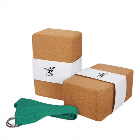 Custom High Quality kit for yoga stretch strap,Cork yoga block