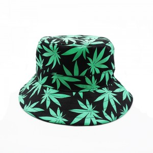 Hemp Leaf Printed Bucket Cap