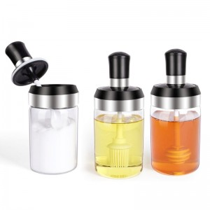 Glass Condiment Jars with Two-in-One Lids