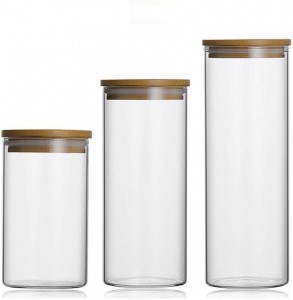 Food Storage Glass Jar with Bamboo Lid