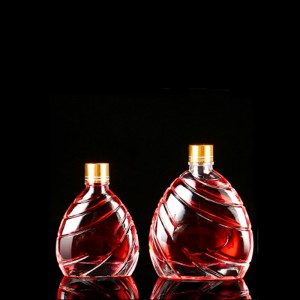 Flat Glass Liquor Bottle with Oblique Pattern