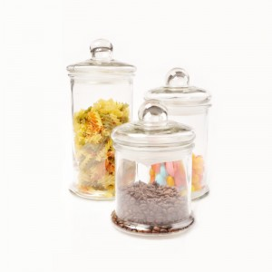 Wide Mouth Glass Cylinder Storage Jars with Lid