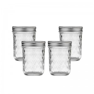 Wide Mouth Mason Glass Jars Quilted Crystal with Lids