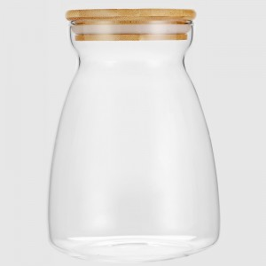 Narrow Mouth Glass Storage Jars with Bamboo Lid