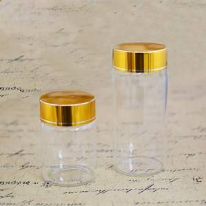 Tube Vials With Brushed Metal Flat Top Screw Cap (D65)