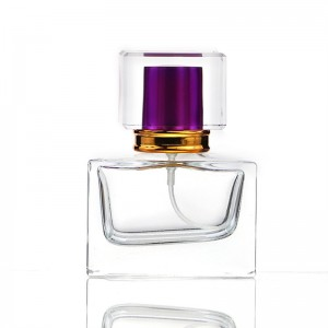 30/50ML Portable Square Glass Spray Perfume Bottle with Double Lid