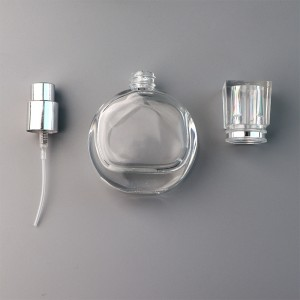25ML Portable Flat Round Glass Spray Perfume Bottle