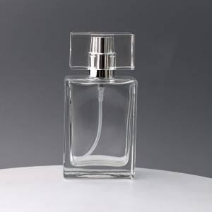 35/50ML Portable Square Glass Spray Perfume Bottle with Flat Lid