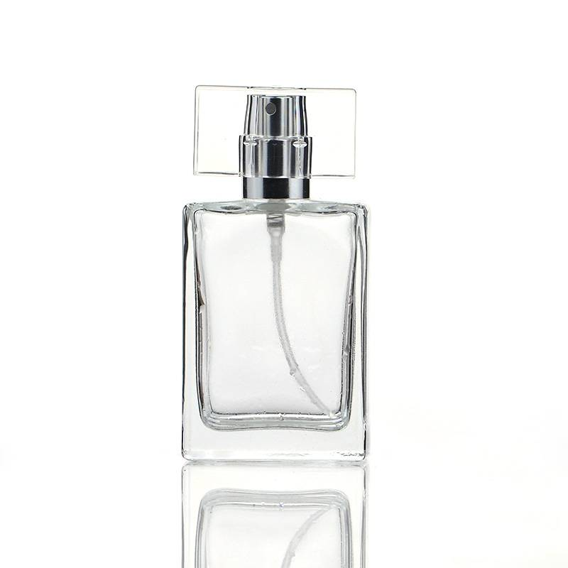 35/50ML Portable Square Glass Spray Perfume Bottle with Flat Lid Featured Image