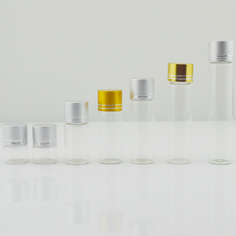 Tube Vials with Brushed Metal Flat Top Screw Cap (D22) Featured Image