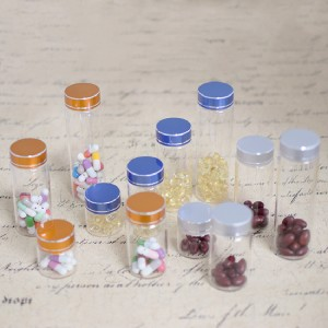 Tube Vials With Brushed Metal Flat Top Screw Cap (D37)