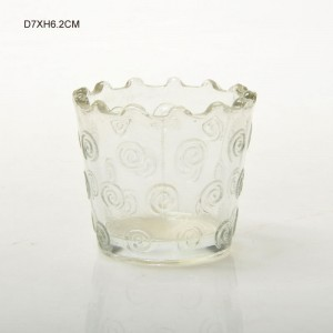 Zigzag Top Edge Embossed Glass Candle Holder