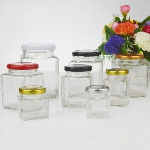 Square Glass Storage Jar with Multi Color Plastisol Lined Metal Lid
