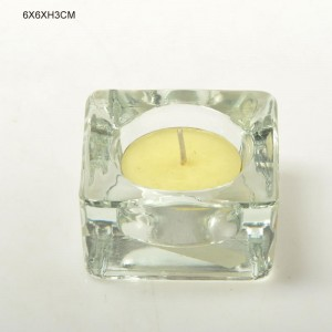 Thickened Cuboid Clear Glass Candle Holder