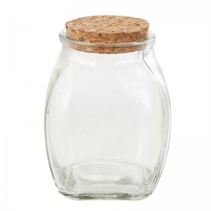 300ML Short Square Glass Jar with Cork Stopper
