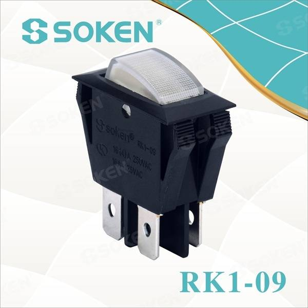 Bipolaire on off Illuminated Rocker Switch