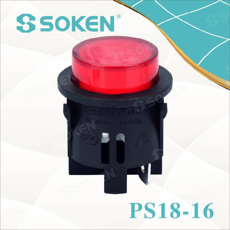 Round Light Push Button Switch 1 Pole