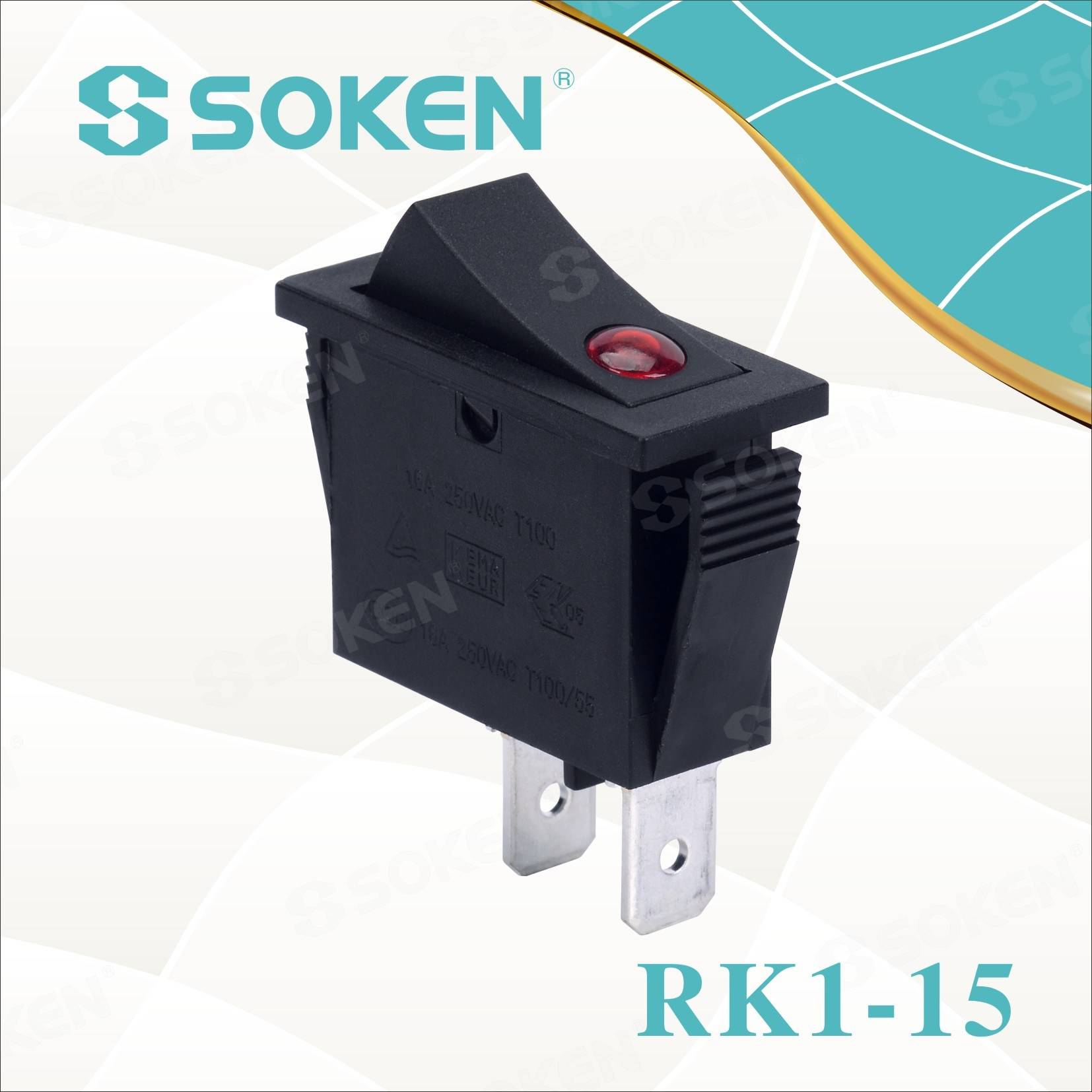 Soken Rk1-15 1x1 B / B off Rocker Switch on