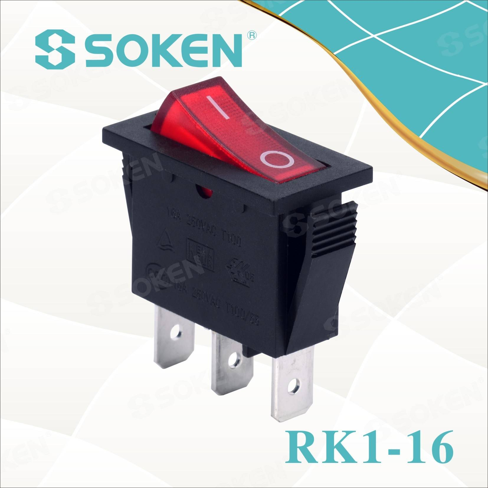Soken Rk1-16 1X1n B/R on off Rocker Switch