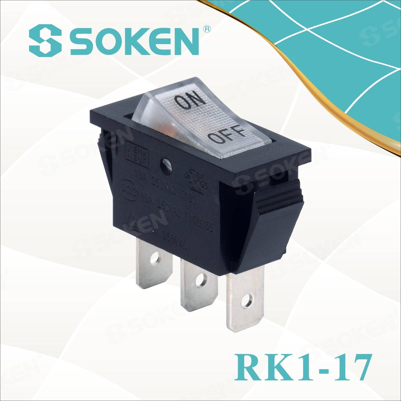 off Işıklı Rocker Switch Söke'nin Rk1-17 1X1n