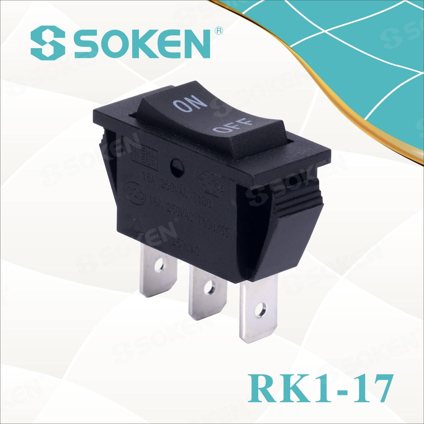 Soken Rk1-17 1X3 ku off ku Rocker 3pins Shintshela