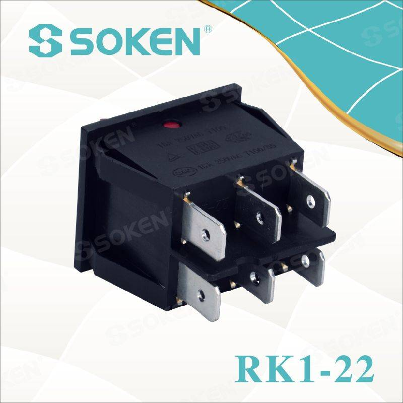 Soken Rk1-22 1X1X2n on off Illuminated Double Rocker Switch