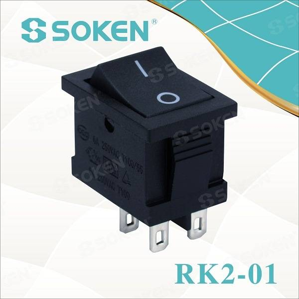 Soken Եզակի բեւեռ TUV VDE ENEC Rocker Switch T85