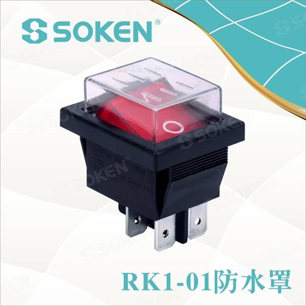 Waterproof Işıklı Dpst Rocker Switch