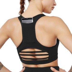 High Impact Sports Bra for Women with Back Pocket, Mesh Workout Fitness Bra with Removable Pads